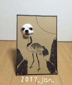 костюм из картона для собаки - цапля