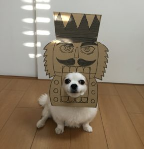 костюм из картона для собаки - солдатик